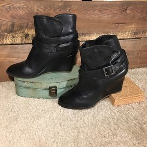 Steven by Steve Madden Leather Wedge Booties